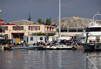 Mytilene Harbour - Migrants arriving